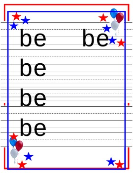 Dolch Kindergarten Words Trace Worksheets Americana theme