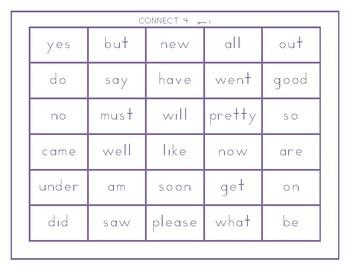 Dolch Kindergarten words Connect 4 games