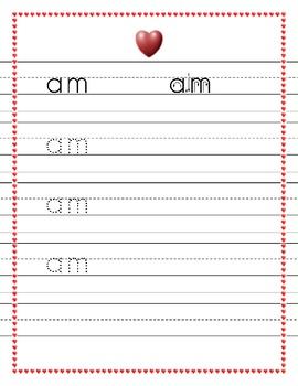 Dolch Kindergarten words trace worksheets Valentine's heart theme