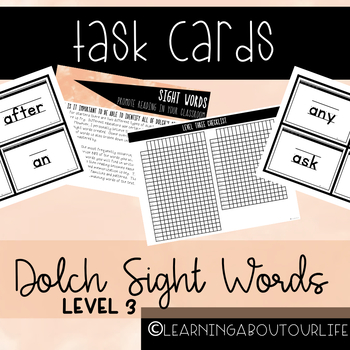 Dolch Level Three Sight Words--Task Cards
