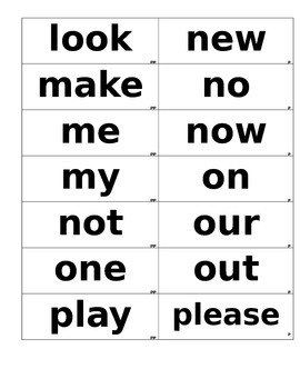 Dolch List Flashcards. These Flashcards are in Black and white.