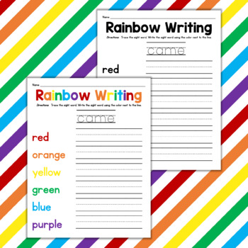 Dolch List Rainbow Writing: Primer Words