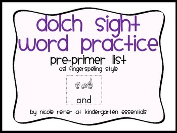 Dolch List Sight Word Practice