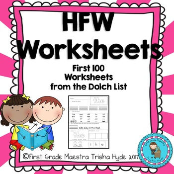 High Frequency Words HFW First 100  words Practice Workshe
