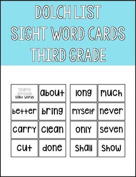 Dolch List Third Grade Sight Word Flashcards