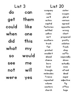 Dolch List sight word booklet