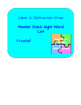 Dolch Master Sight Word List