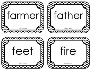 Dolch Noun Sight Word Flash Cards (with Chevron Frame)