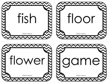 Sight Words • Dolch Nouns • Flash Cards (with Chevron Frame)