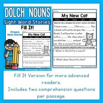Sight Word Stories - Dolch Nouns - Fill It!