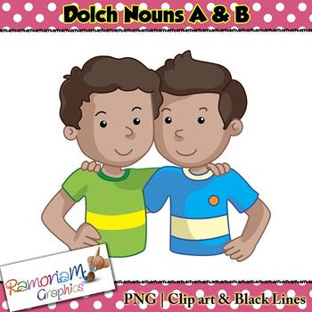Dolch Nouns A & B Clip art