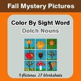 Dolch Nouns: Color by Sight Word - Autumn (Fall) Mystery Pictures
