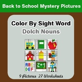 Dolch Nouns: Color by Sight Word - Back To School Mystery Pictures