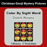 Dolch Nouns: Color by Sight Word - Christmas Emoji Mystery