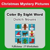 Dolch Nouns: Color by Sight Word - Christmas Mystery Pictures