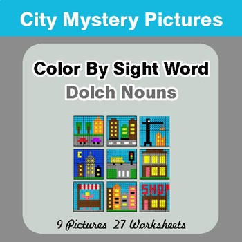 Dolch Nouns: Color by Sight Word - City Mystery Pictures