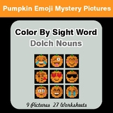 Dolch Nouns: Color by Sight Word - Halloween Emoji Mystery