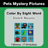Dolch Nouns: Color by Sight Word - Pets Mystery Pictures