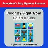 Dolch Nouns: Color by Sight Word - President's Day Mystery