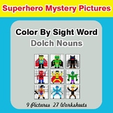 Dolch Nouns: Color by Sight Word - Superhero Mystery Pictures