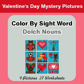 Dolch Nouns: Color by Sight Word - Valentine's Day Mystery Pictures