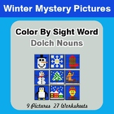 Dolch Nouns: Color by Sight Word - Winter Mystery Pictures