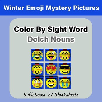 Dolch Nouns: Color by Sight Word - Winter Snowman Emoji Mystery Pictures