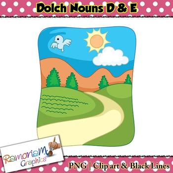 Dolch Nouns D & E Clip art