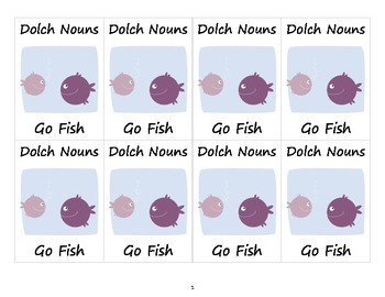 Dolch Nouns Go Fish