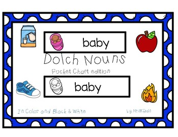 Dolch Nouns Pocket Chart/Word Wall Edition