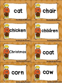 Nouns Sight Words Cards - Fall Themed