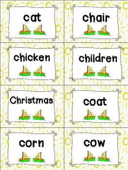 Nouns Sight Words Cards - Summer Themed
