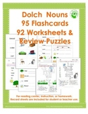 Dolch Noun Sight Words~ 92 Worksheets & 95 Flashcards Double-Sided & Illustrated