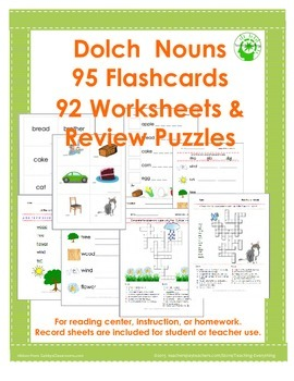 Dolch Noun Sight Words~ 92 Worksheets & 95 Flashcards Doub
