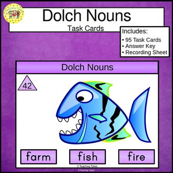 Dolch Nouns Clip Task Cards