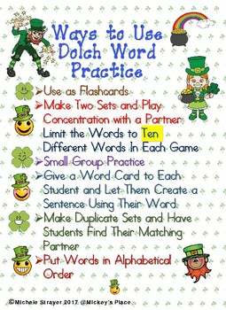 Dolch Nouns Word Practice for March
