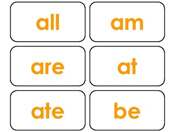 Dolch Orange Bold Text Primer Sight Word Flash Cards in a PDF file