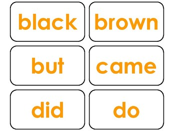 Dolch Orange Bold Text Primer Sight Word Flash Cards in a PDF file.