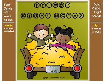 Dolch PRIMER Sight Word Boxes on Task Cards PLUS Flash Cards