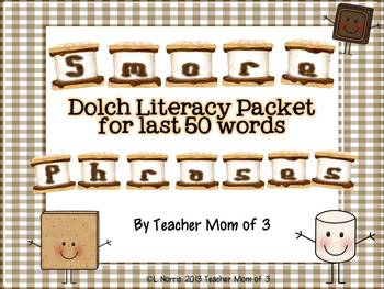 Dolch Sight Word Phrases Literacy Centers- S'More Style