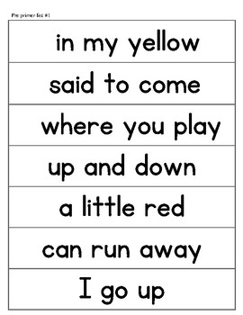 Dolch Phrases for reading and writing fluency practice