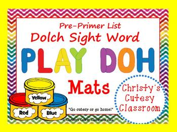 Dolch Sight Word Play Doh Mats--Pre-Primer List