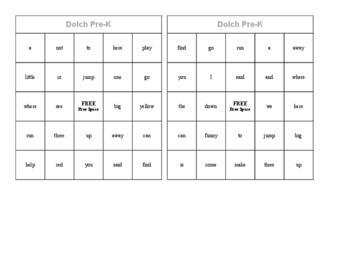 Dolch Pre-K Word Bingo