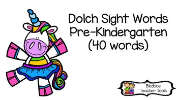 Dolch Pre-Kinder Pre-Primer Unicorn Themed Flashcards