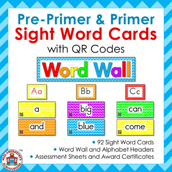 Pre-Primer & Primer Sight Word Word Wall Cards with QR Codes