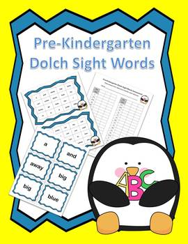 Dolch Pre Kindergarten Sight Words Practice and Assessment