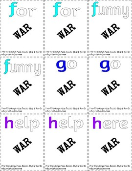 Dolch Pre-Kindergarten Sight Words War