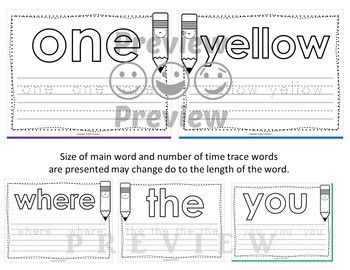 Dolch Pre Kindergarten Word Mats - Build and Write -  Black and White