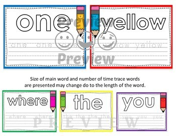 Dolch Pre Kindergarten Word Mats - Build and Write -  Color