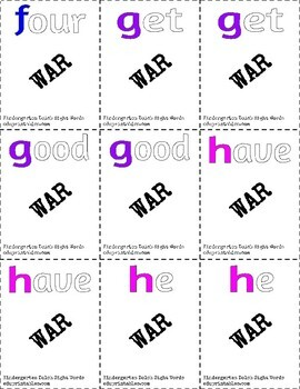 Dolch Pre-Kindergarten and Kindergarten Sight Words War BUNDLE